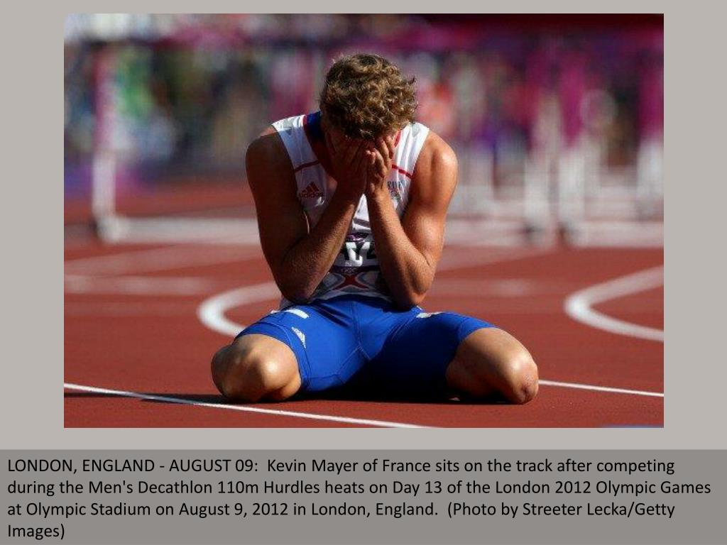 LONDON, ENGLAND - AUGUST 09:  Kevin Mayer of France sits on the track after competing during the Men's Decathlon 110m Hurdles heats on Day 13 of the London 2012 Olympic Games at Olympic Stadium on August 9, 2012 in London, England.  (Photo by Streeter Lecka/Getty Images)