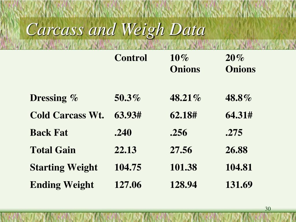 Carcass and Weigh Data