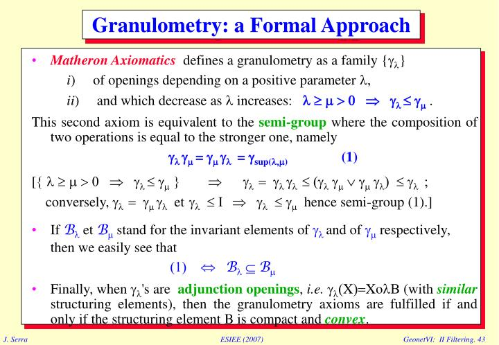 Matheron Axiomatics