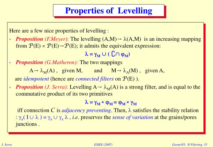 Here are a few nice properties of levelling :