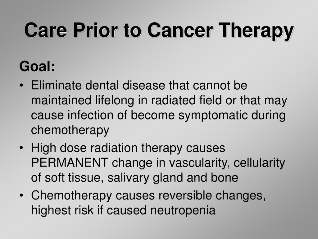 Care Prior to Cancer Therapy