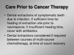 care prior to cancer therapy27