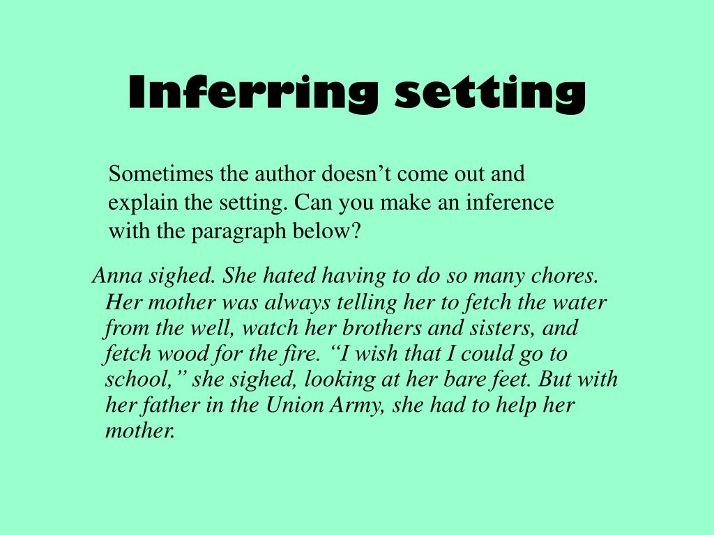 Inferring setting