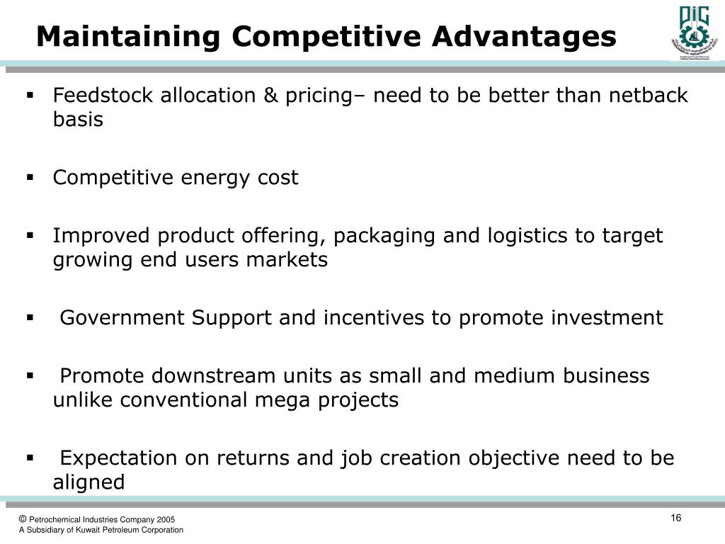 Maintaining Competitive Advantages
