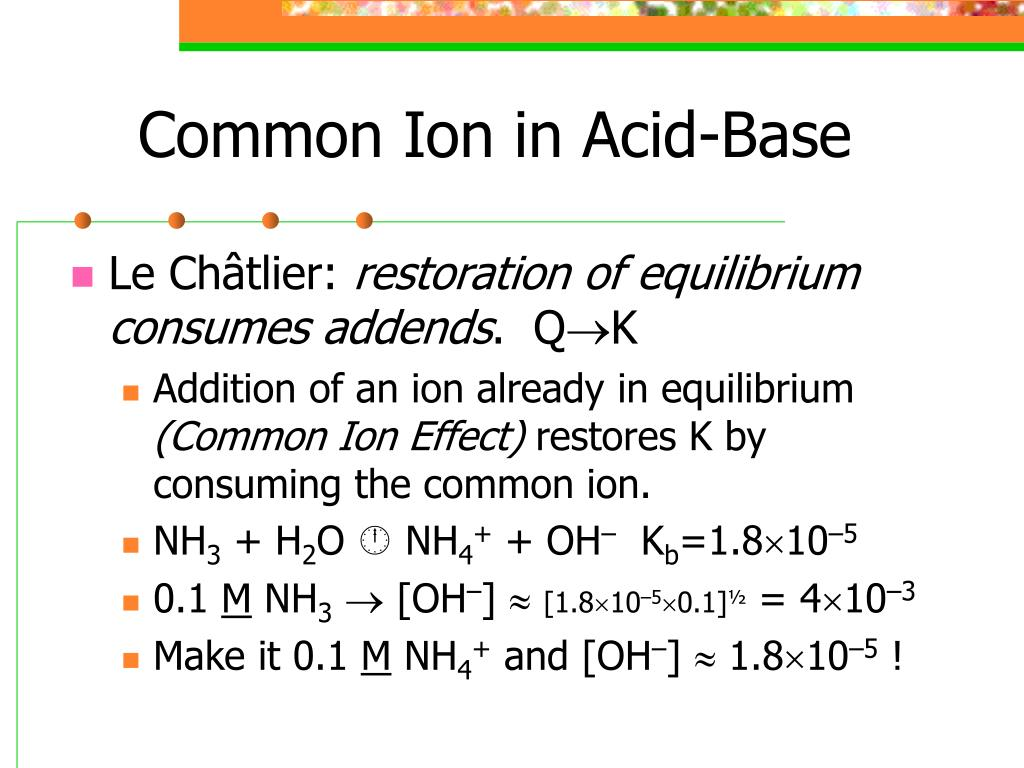 Common Ion in Acid-Base