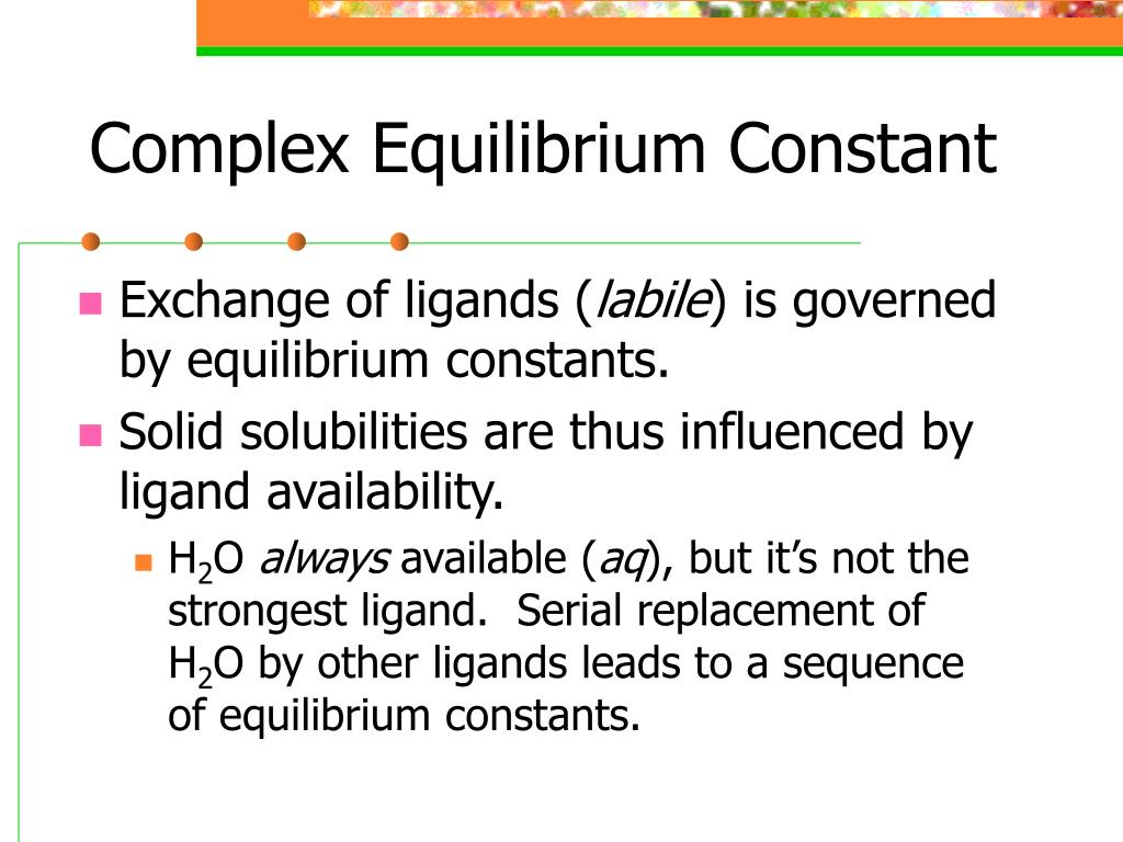 Complex Equilibrium Constant