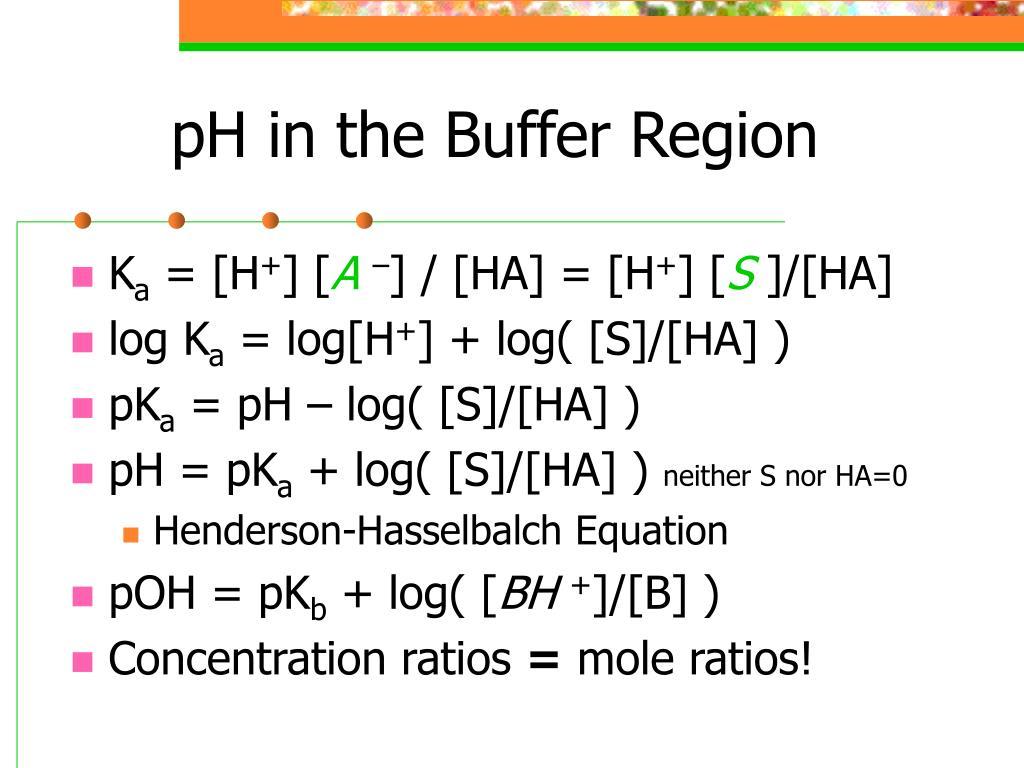 pH in the Buffer Region