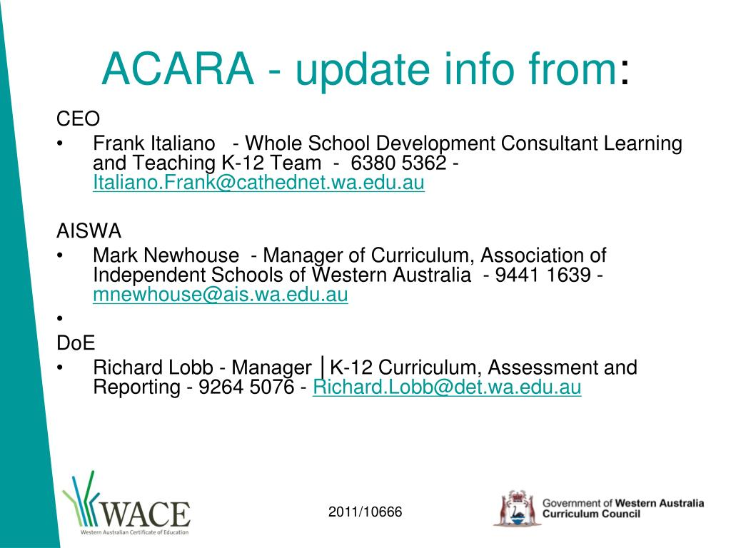 ACARA - update info from