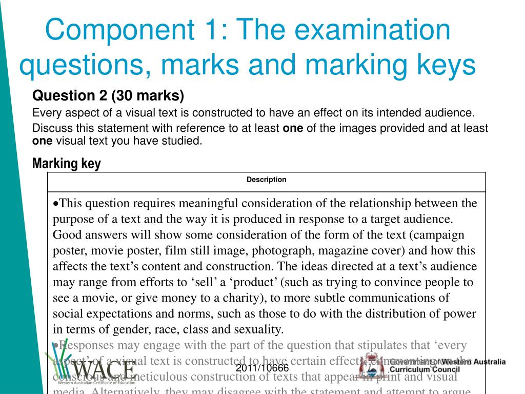 Component 1: The examination questions, marks