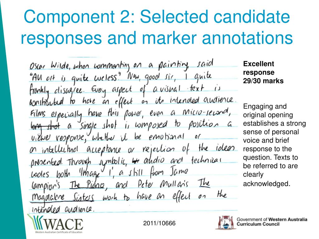 Component 2: Selected candidate responses and marker annotations