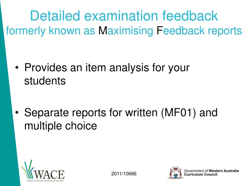 Detailed examination feedback