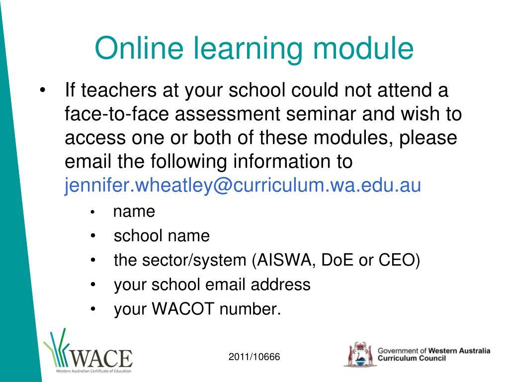 Online learning module