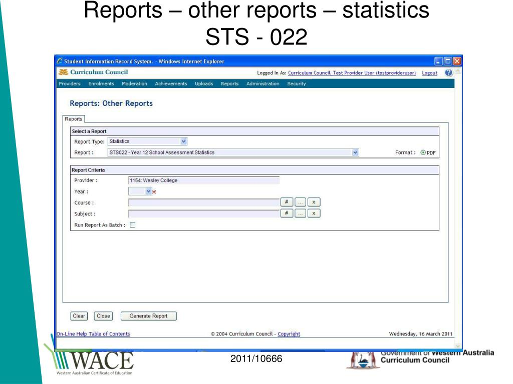 Reports – other reports – statistics