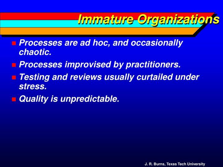 Immature Organizations
