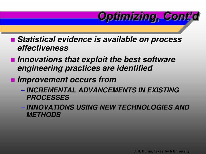 Optimizing, Cont'd