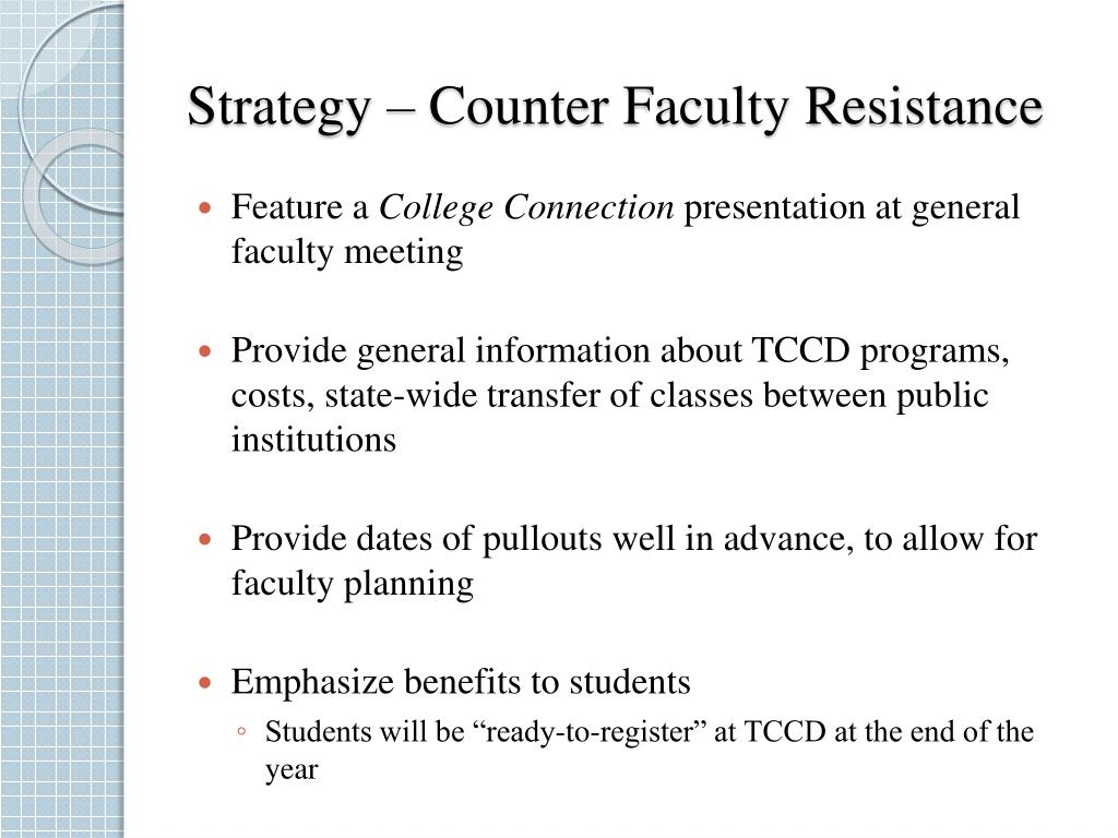 Strategy – Counter Faculty Resistance