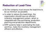 reduction of lead time6