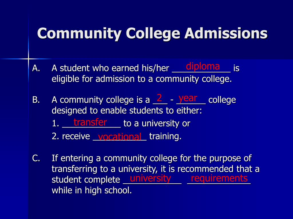 Community College Admissions