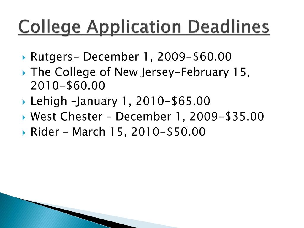 College Application Deadlines