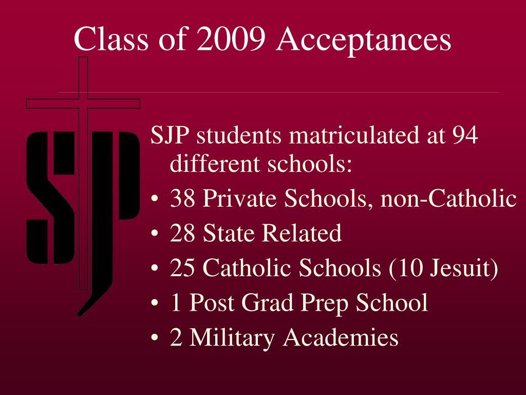 Class of 2009 Acceptances