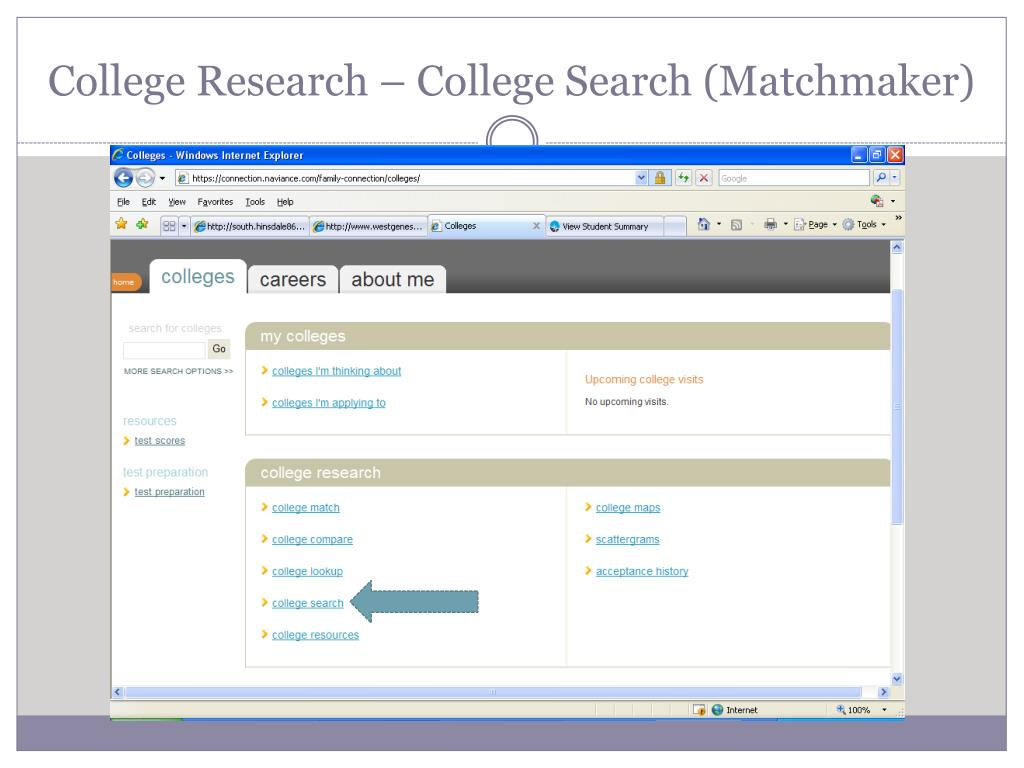College Research – College Search (Matchmaker)