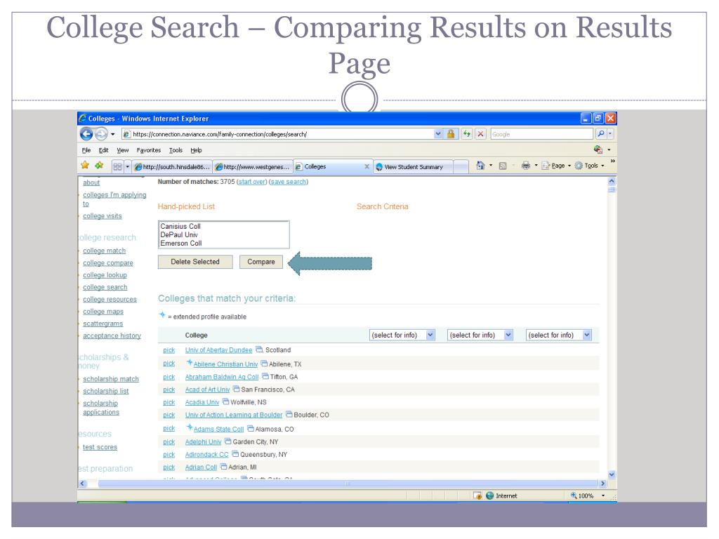 College Search – Comparing Results on Results Page