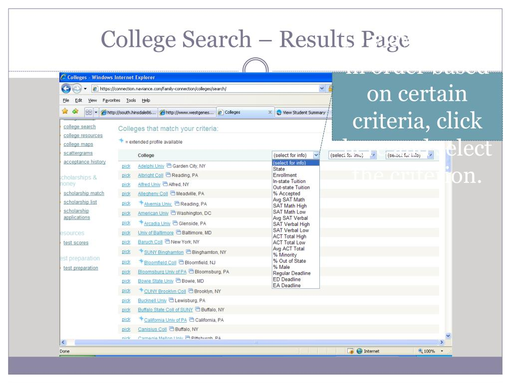 College Search – Results Page