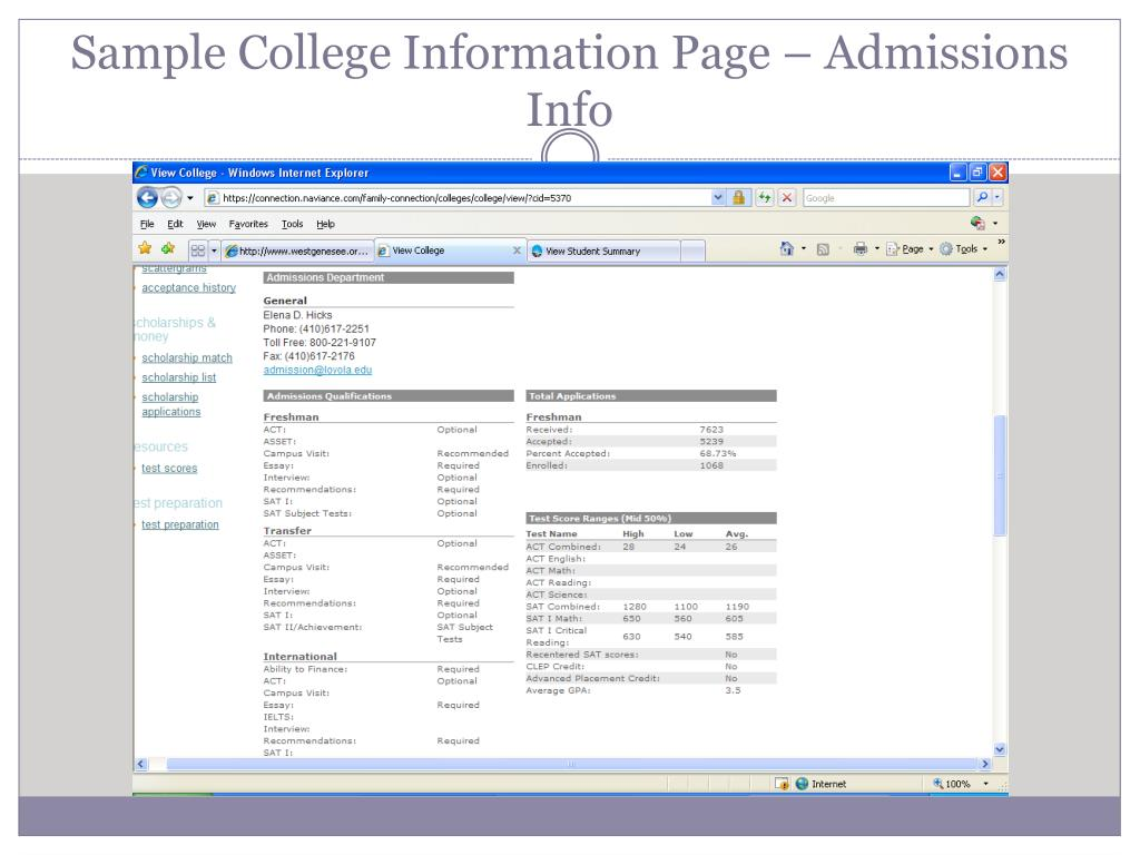 Sample College Information Page – Admissions Info