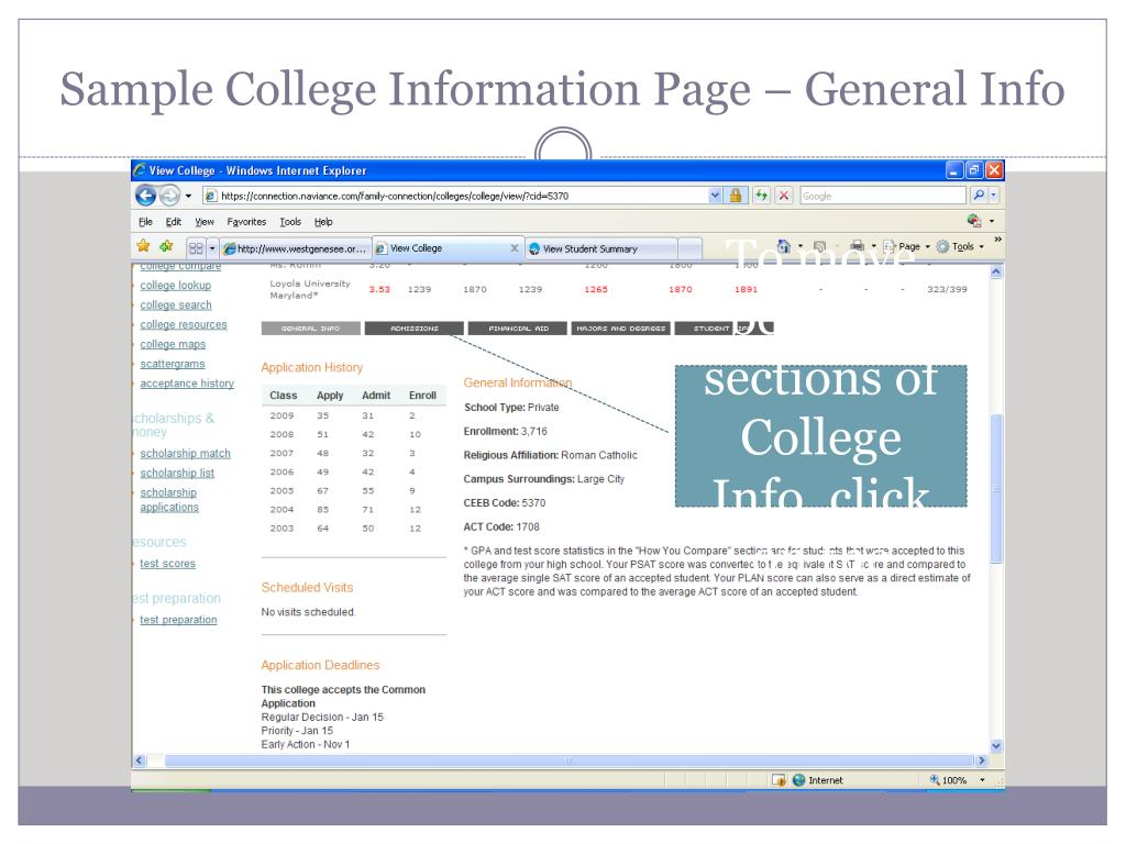 Sample College Information Page – General Info