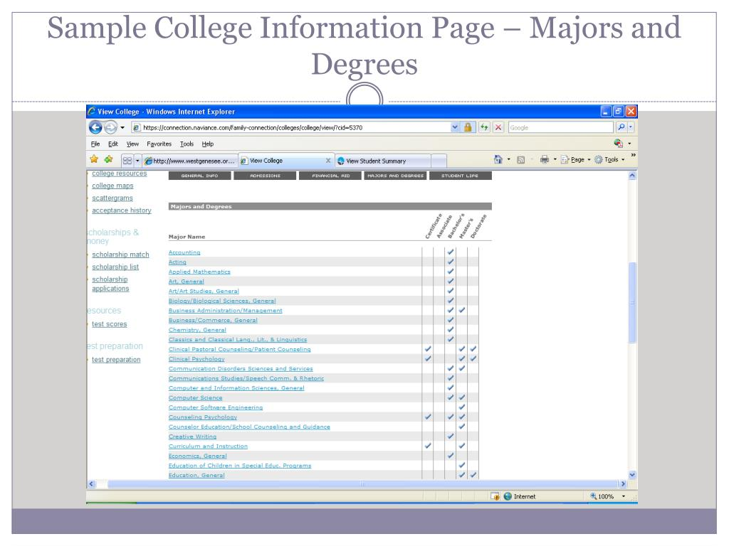 Sample College Information Page – Majors and Degrees