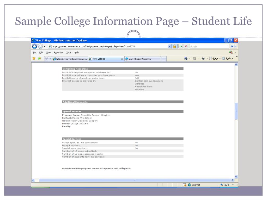 Sample College Information Page – Student Life