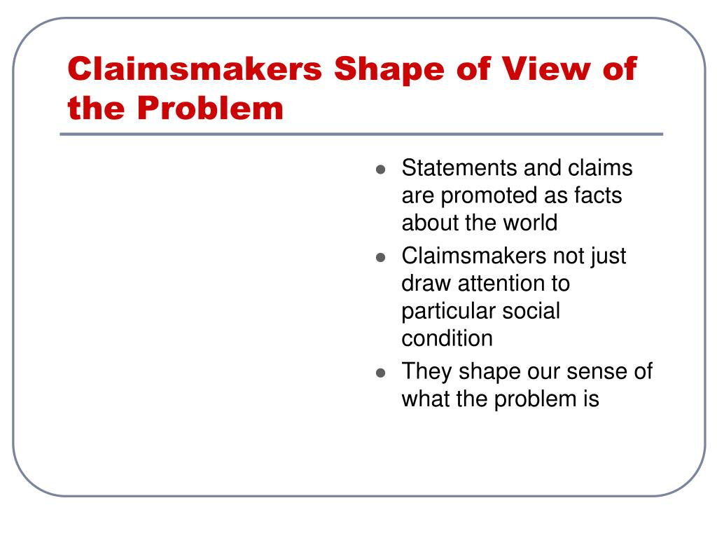 Claimsmakers Shape of View of the Problem
