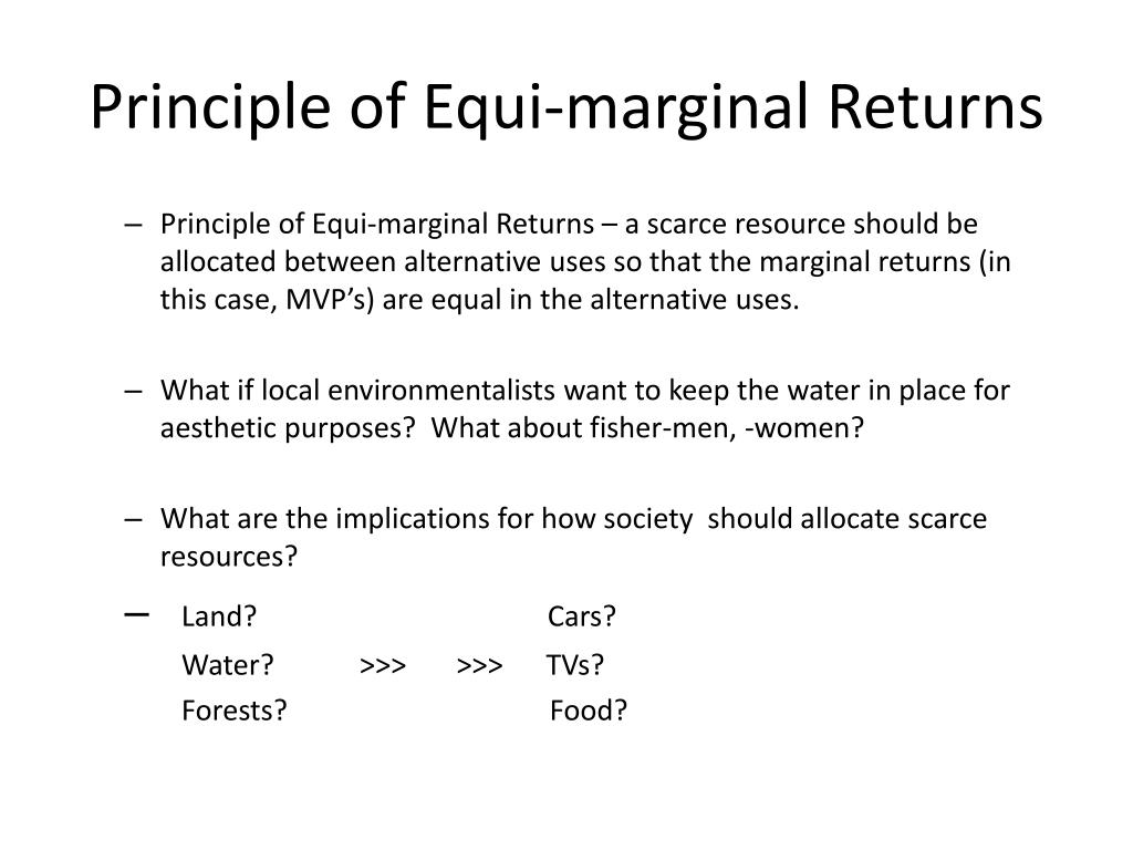 Principle of Equi-marginal Returns