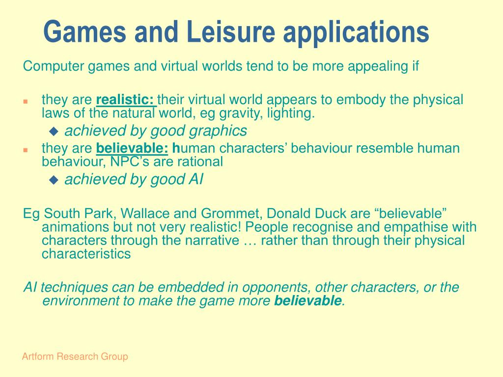 Games and Leisure applications