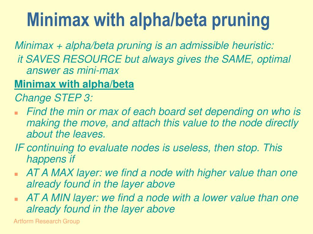 Minimax with alpha/beta pruning