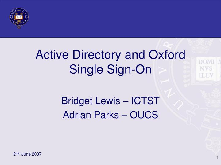 Active directory and oxford single sign on