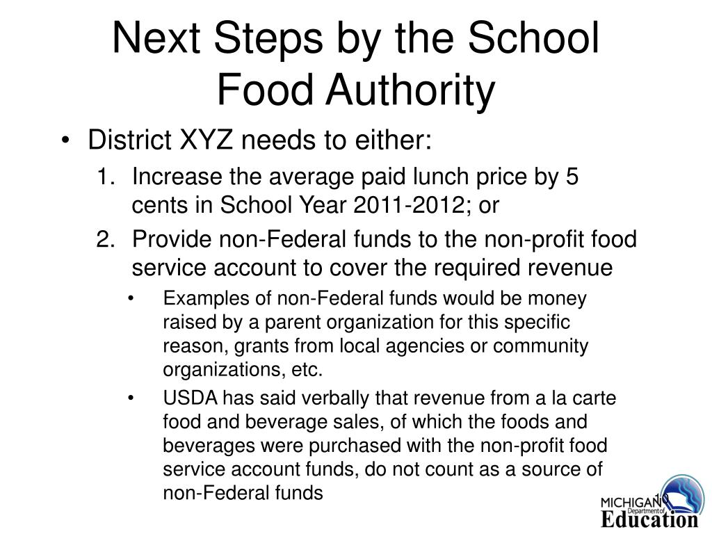 Next Steps by the School Food Authority