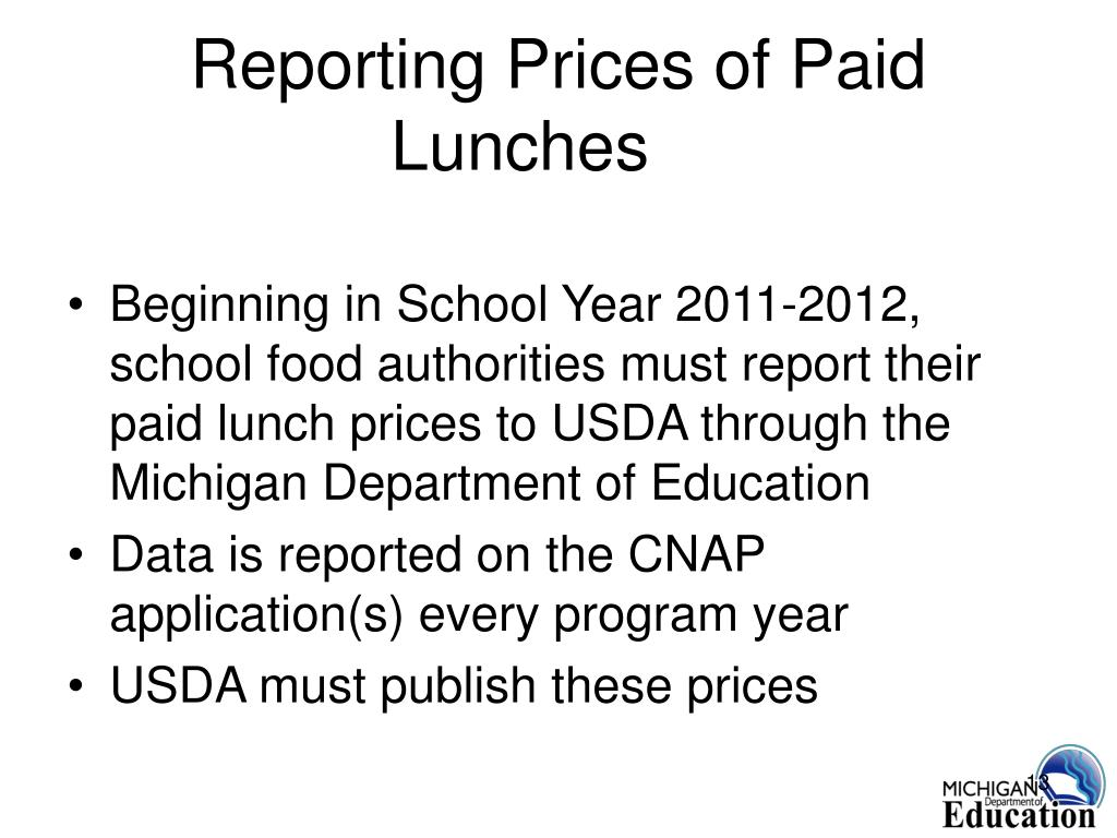 Reporting Prices of Paid Lunches