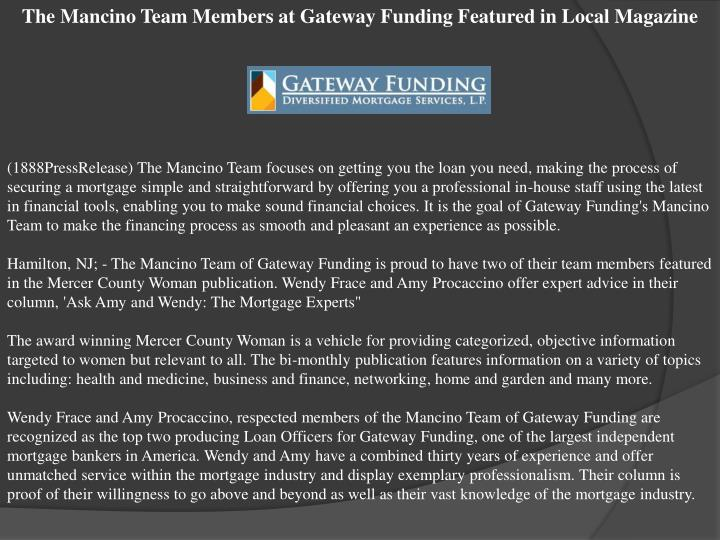 The Mancino Team Members at Gateway Funding Featured in Local Magazine