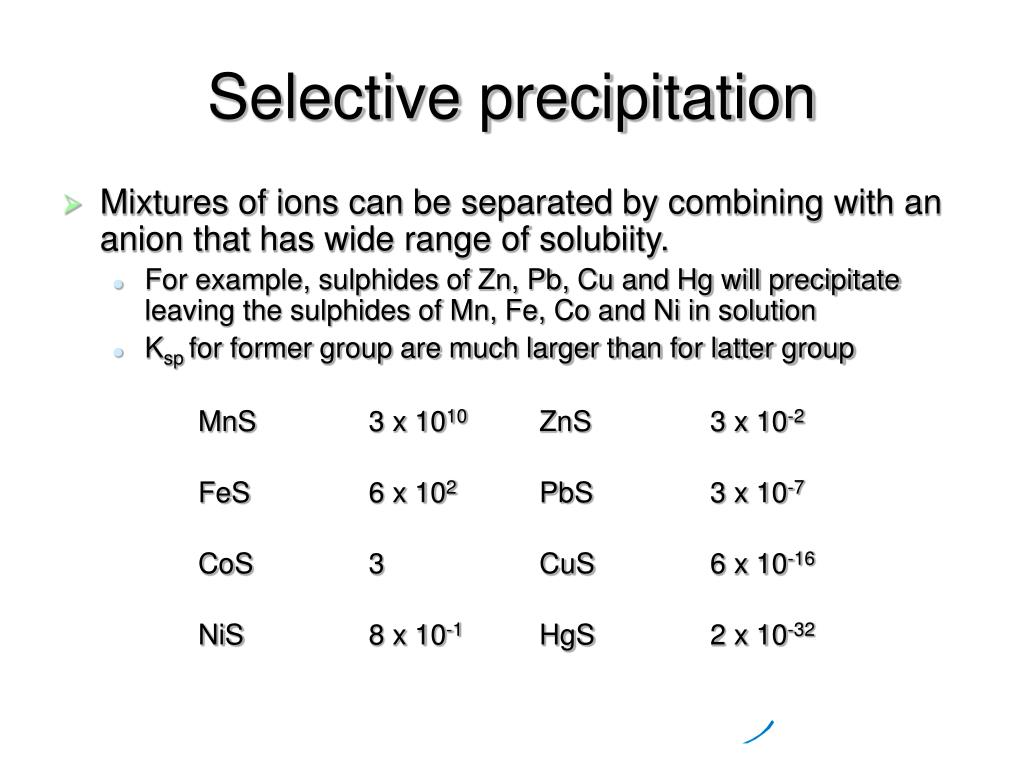 Selective precipitation