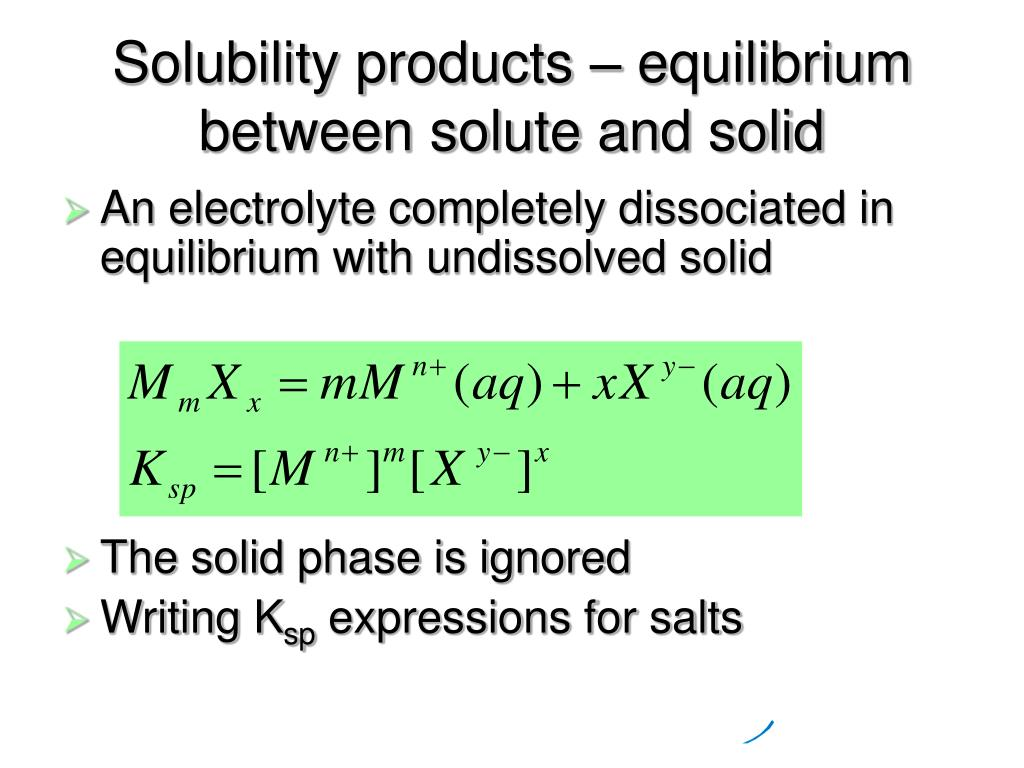 Solubility products – equilibrium between solute and solid