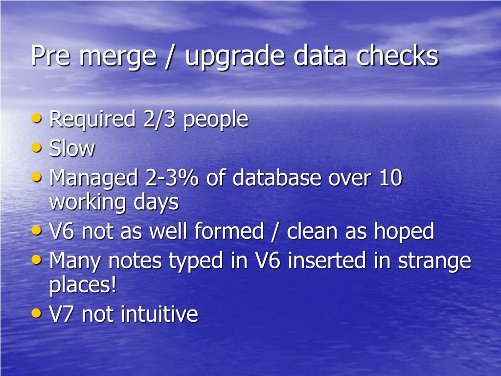 Pre merge / upgrade data checks