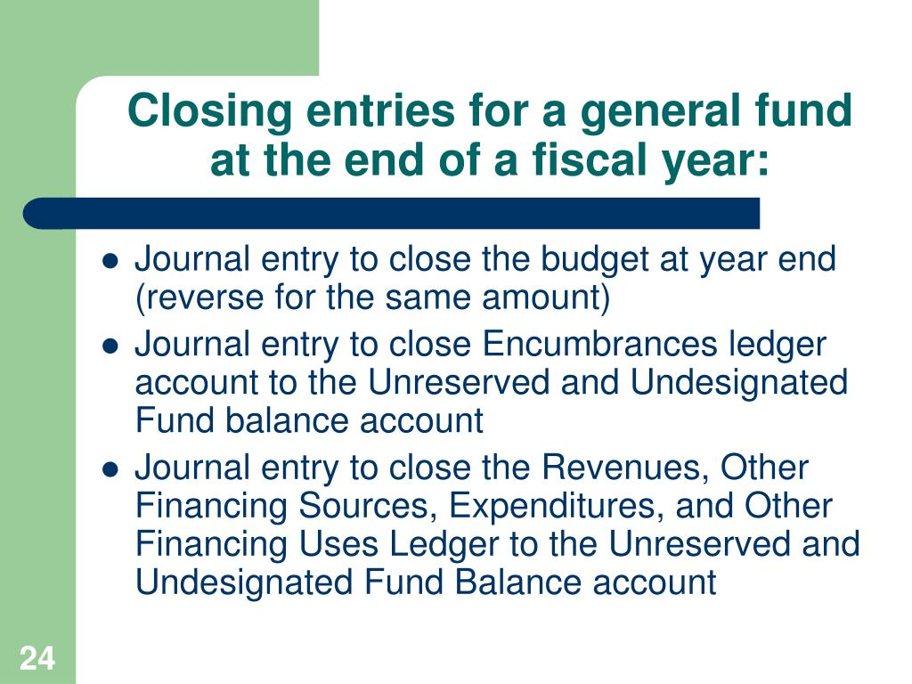 Closing entries for a general fund at the end of a fiscal year: