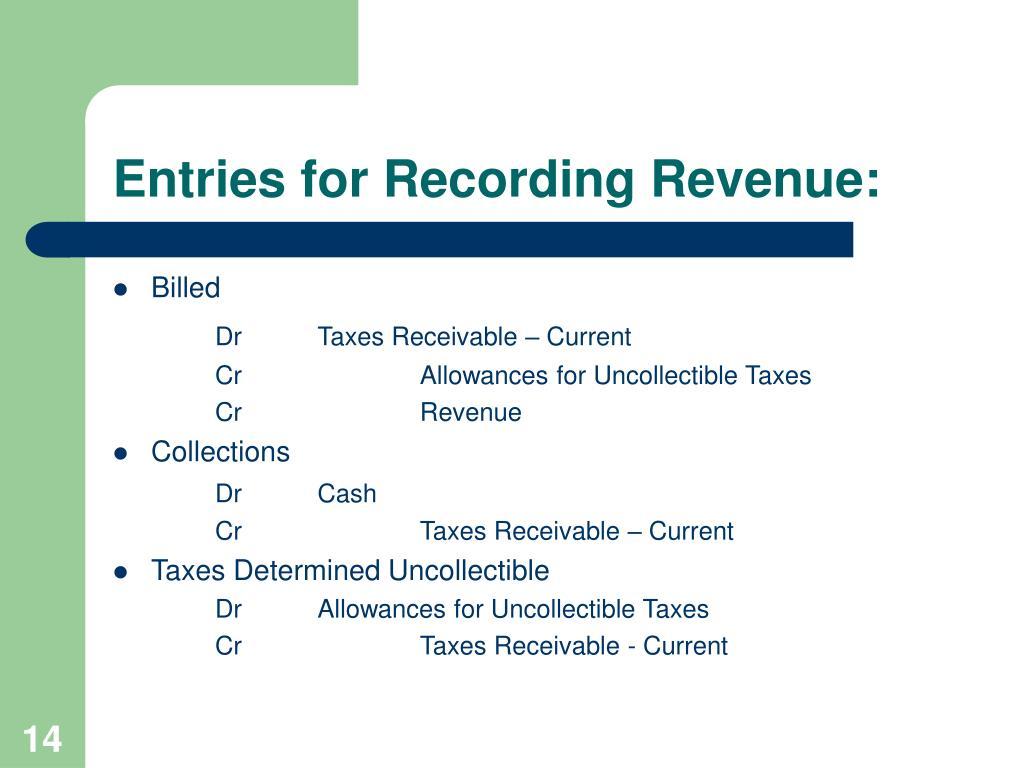 Entries for Recording Revenue: