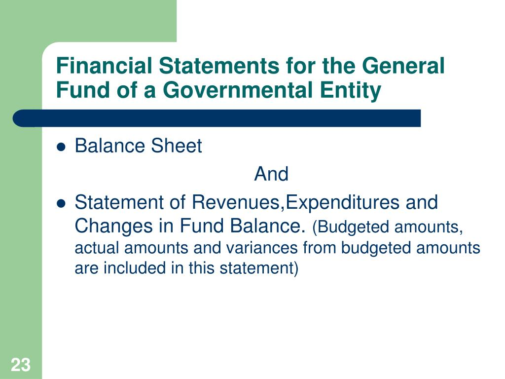 Financial Statements for the General Fund of a Governmental Entity