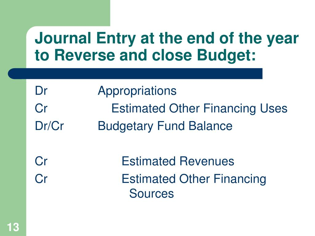 Journal Entry at the end of the year to Reverse and close Budget: