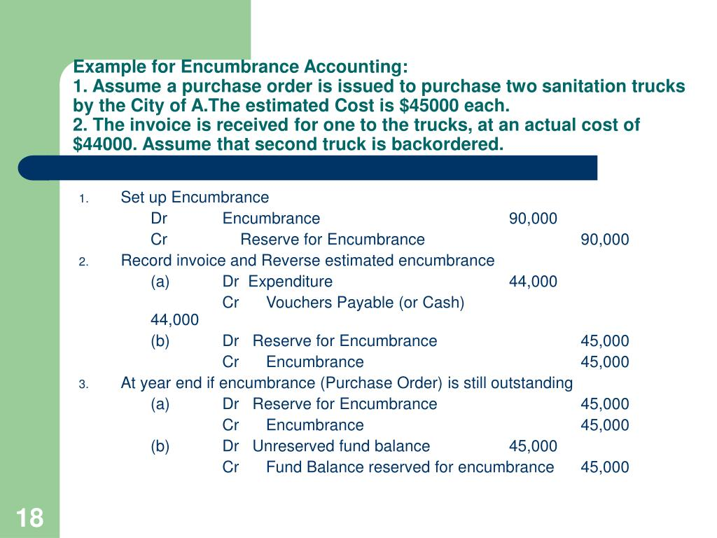 Example for Encumbrance Accounting: