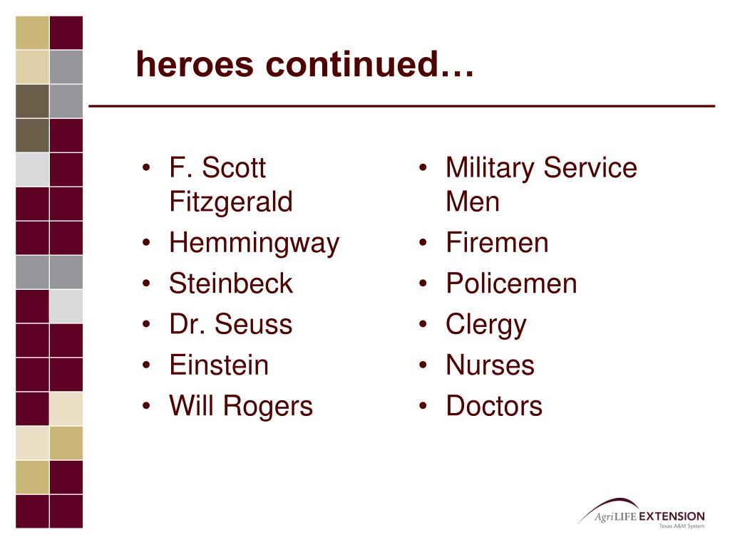 heroes continued…