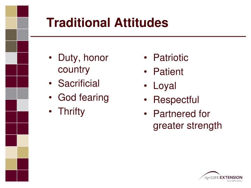 Traditional Attitudes