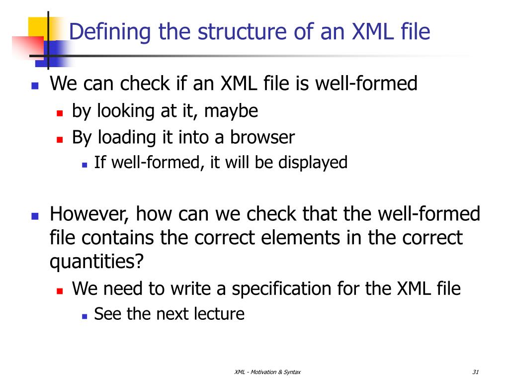 Defining the structure of an XML file